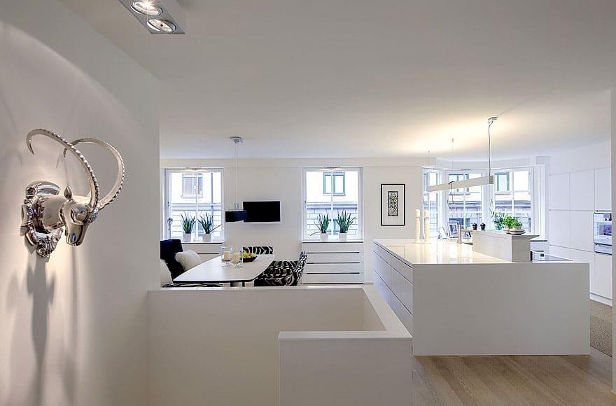 Scandinavian Design: Contemporary White Duplex Apartment in Stockholm